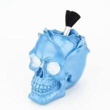 Синяя Роза цветок череп орнамент Статуэтка коробка для хранения женский настольный органайзер для косметики синяя Чародейка полимерная ручка держатель домашний декор