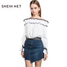 Sheinnet 2017 Fashion Summer Women Shirts White Sexy Off Shoulder Ruffles Female Tops Casual Streetwear Bell Sleeve Blouses
