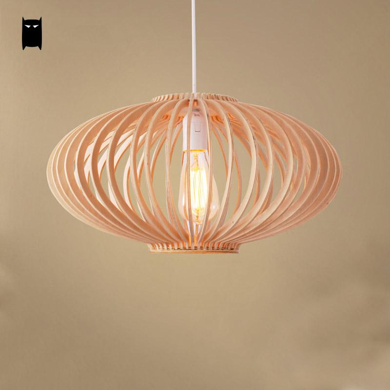 wood twist staircase lampshade pendant light fixture nordic