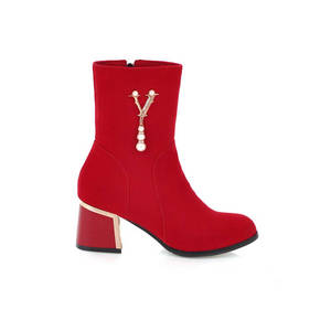 Image 2 - MORAZORA 2020 ホット販売アンクルブーツ女性のためのジッパーファッション秋冬ブーツ真珠エレガントなハイヒールのブーツ、カジュアル靴