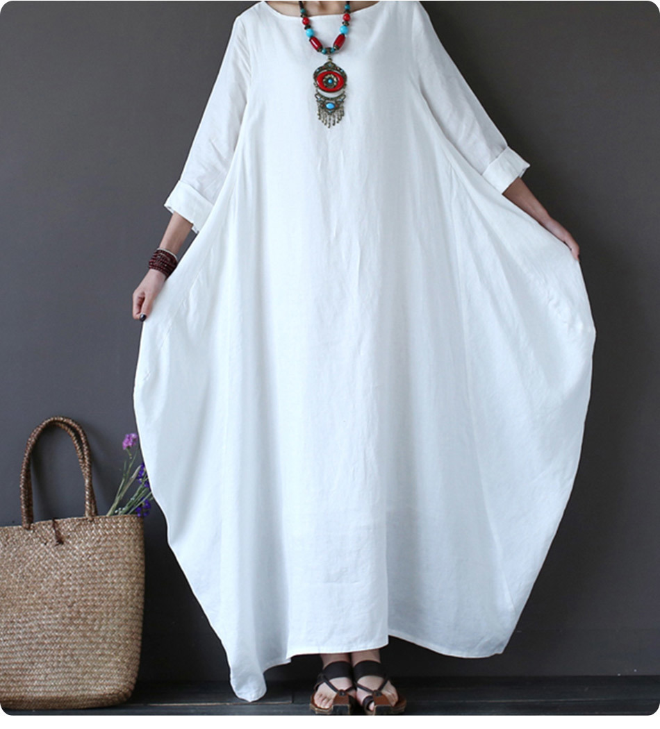 Kaftan Womens Maxi Dress Summer O Neck Long Sleeve Spring Cotton Linen Gown Robe Dresses Plus Size Large Size Dresses 4