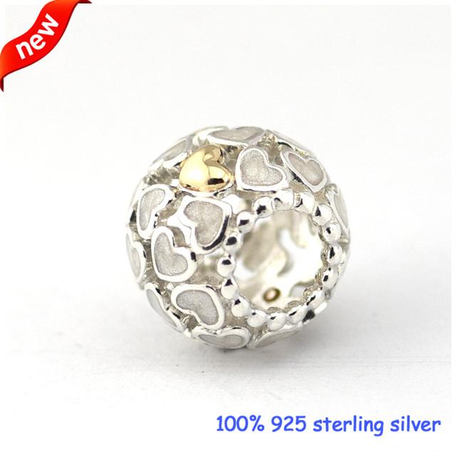 Serve para pandora pulseiras abundância de amor grânulos de prata com 14 k de ouro 100% 925 prata esterlina encantos diy atacado 08294