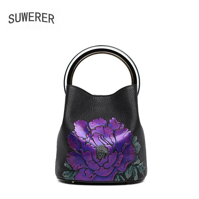 Für Frauen Taschen Leder Echtem Handtaschen Kunst Red Flowers Tasche Flowers Designer 2019 Aus Neue Luxus Präge blackpurple Blumen Suwerer Tote Eimer qXdwBxCItw