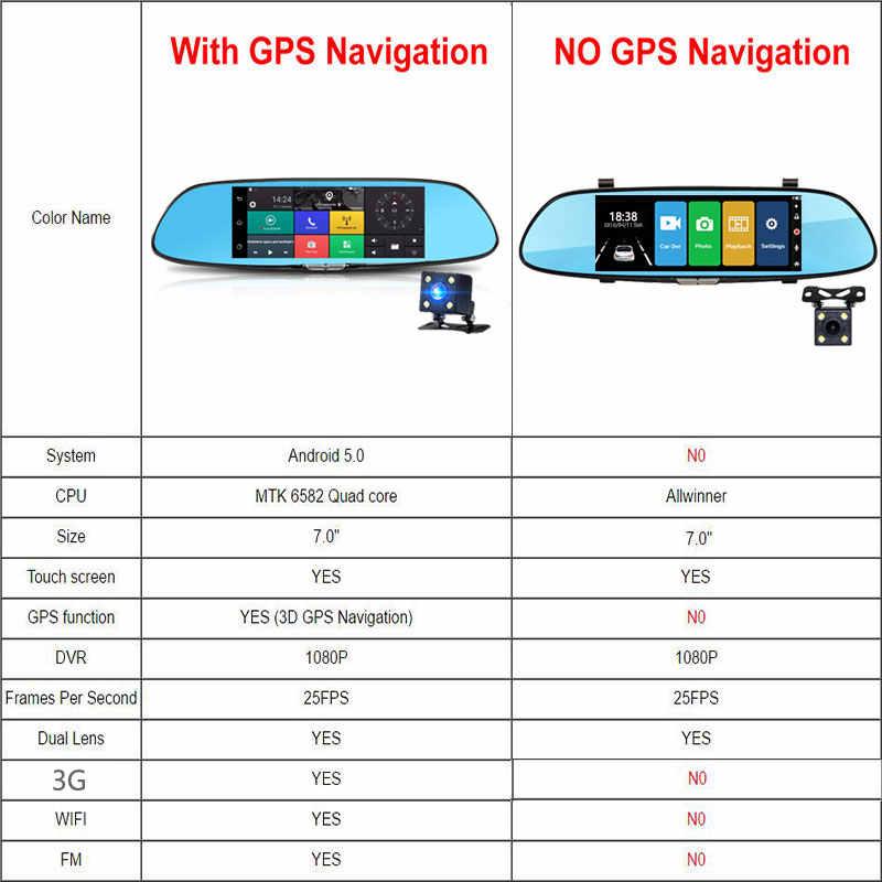 """3G لتحديد المواقع والملاحة جهاز تسجيل فيديو رقمي للسيارات 7 """"شاشة تعمل باللمس سيارة مرآة الرؤية الخلفية للكاميرا أندرويد 5.0 بلوتوث واي فاي 1080P مسجل فيديو داش كام"""