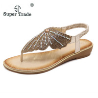 2018 New Women Sandals Summer Shoes Fashion European American Sandals Ethnic Rhinestone Trade Large Size 35