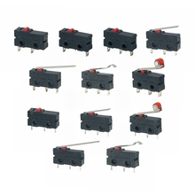 5Pcs Mini Micro Limit Switch NO NC 3 Pins PCB Terminals SPDT 5A 125V 250V 29mm Roller Arc lever Snap Action Push Microswitches