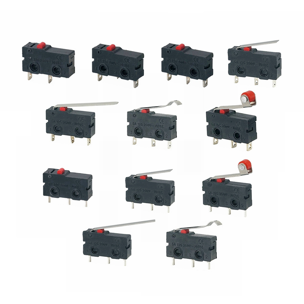 5Pcs Mini Micro Limit Switch NO NC 3 Pins <font><b>PCB</b></font> Terminals SPDT 5A 125V 250V 29mm Roller Arc lever Snap Action Push Microswitches image