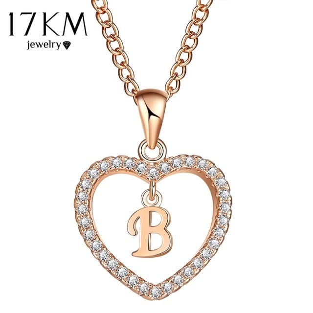 17KM Fashion 2 Color Heart Letter Name Necklaces & Pendant For Women Necklace Wo