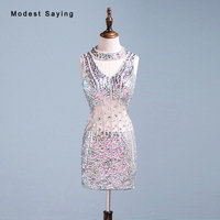 Real Sexy Luxury Party Dress See Through Diamond Rhinestone Beading Mini Cocktail Dresses 2018 Girls High Neck Short Prom Gowns