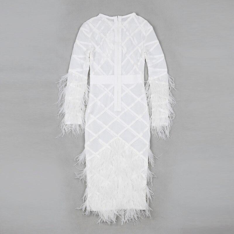 Sexy Femmes Partie Plume Embelli Perspective Robe Mode Designer Bandage De Paris 1RqFY7qw