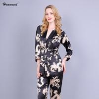 3 Pcs Robe Pajama Pants Sets 2017 Fashion Autumn Silk Pajamas Sleepwear Nightwear Female Pajama Sets Pyjamas Women Bathrobe