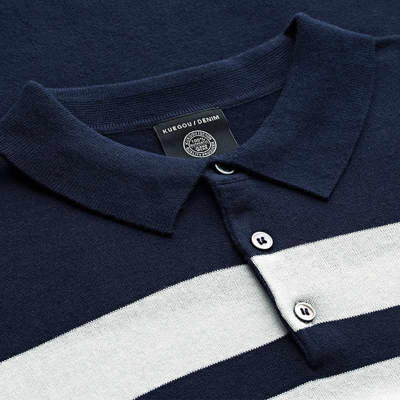 KUEGOU 2019 verano tejido 100% algodón rayas Polo camisa hombres moda manga corta Slim Fit Poloshirt hombre marcas Ropa 16972