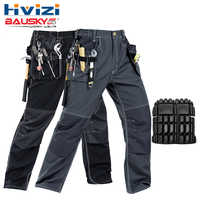 Men's work wear working pants multi pockets tool trouser black work trousers men workwear free shipping B129