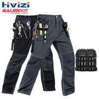 Desgaste do trabalho dos homens calças de trabalho multi ferramenta bolsos das calças calças de trabalho preto homens B129 workwear frete grátis