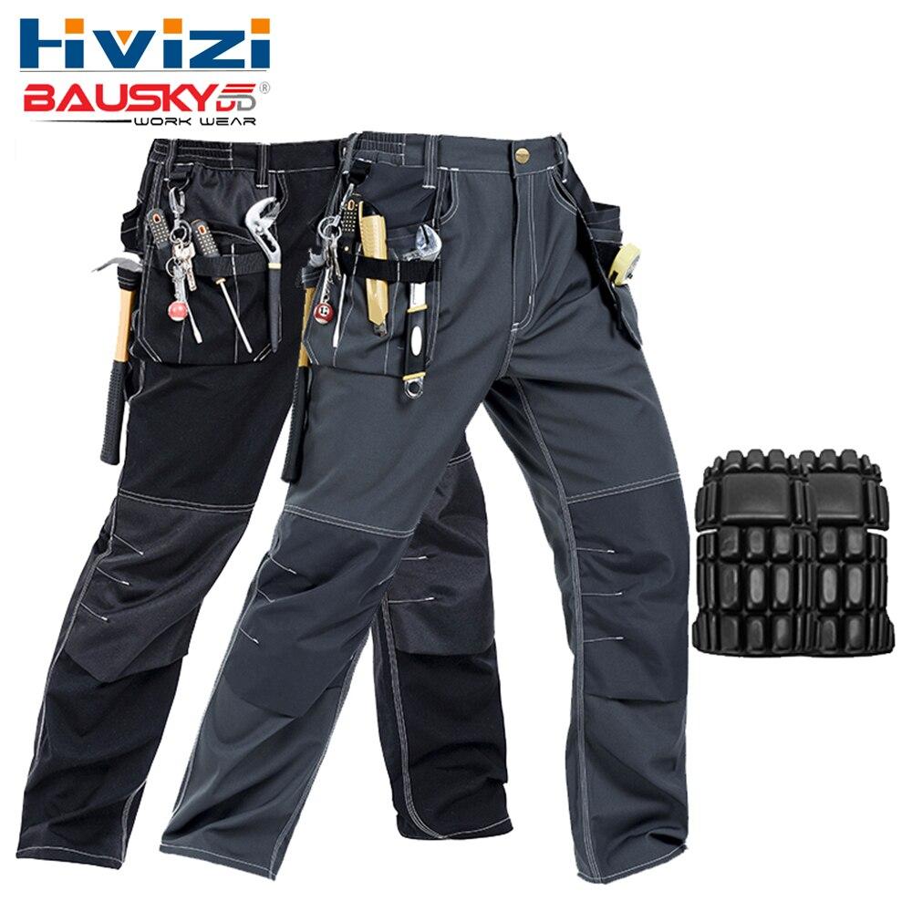 Men's work wear working pants multi pockets tool trouser black work trousers men workwear free shipping B129