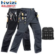 Men's work wear working pants multi pockets tool trouser black work trousers men workwear free shipping B129 недорого