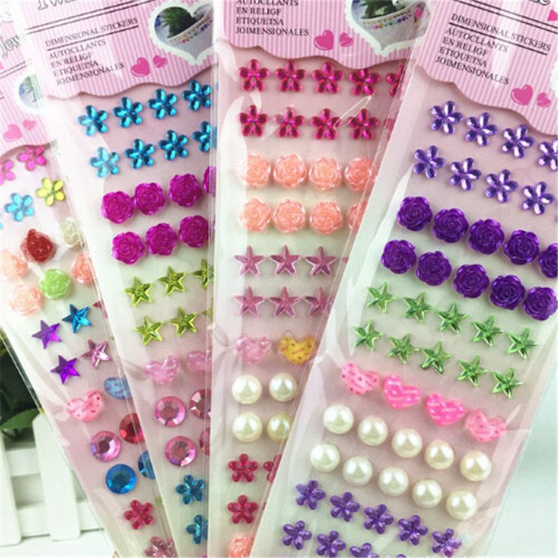 1pcs Mixed Color Acrylic Rhinestone Crystal Decoration 3D Stickers Baby Kids Girls DIY Cute Children Toys Stickers Multi Styles