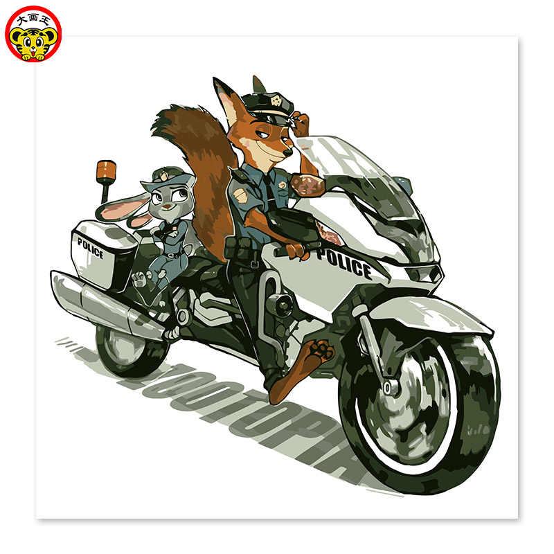 Raposa vermelha, motocicleta, carro da polícia Louco animais da cidade DIY pintura digital, desenho em pano