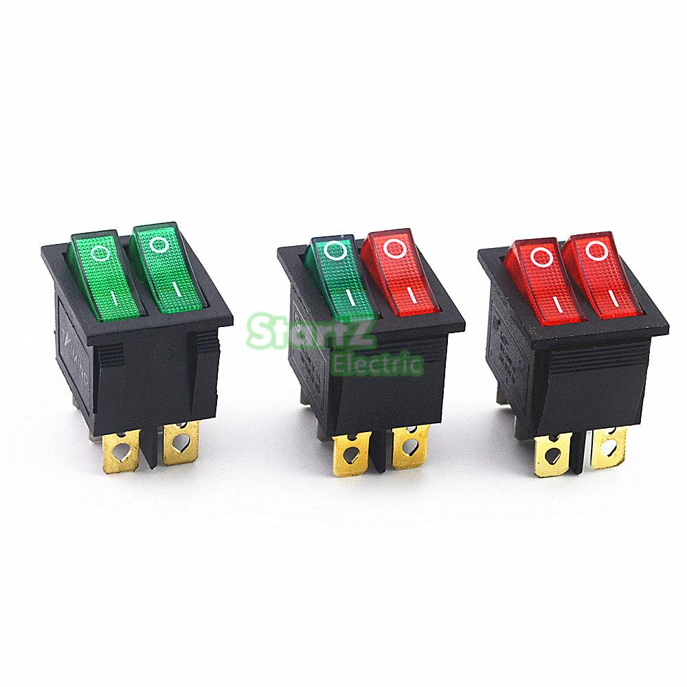 KCD2 Double Boat Rocker Switch 6 Pin On-Off With Green Red Light 20A 125VAC promotion 5 pcs x red light illuminated double spst on off snap in boat rocker switch 6 pin