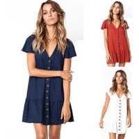 Pleated Ruffle Female Sundress Women Summer Dress 2020 Sexy V Neck Linen Buttons Short Mini Vestidos A Line Loose Casual Dress