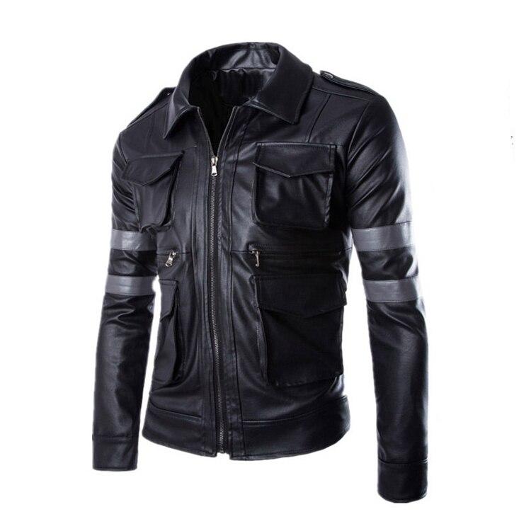 Hot BIOHAZARD Game Resident Evil 6 Leon Jacket Gentlemen Cavalier Men PU Leather Jacket CM325