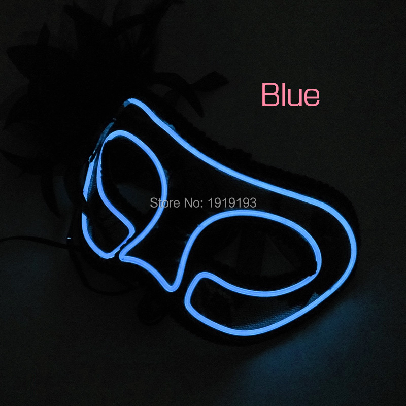 Glowing Night Club Luminous EL Cable Rope Venetian Ballroom Mask Holiday Lighting Led Light Feather Princess Mask for Masquerade
