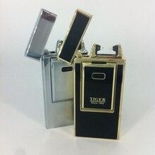 Qualité tigre de métal plus léger coupe – vent Ultra – mince en métal Arc Pulse flamme Charge USB allume-cigare briquet electronique