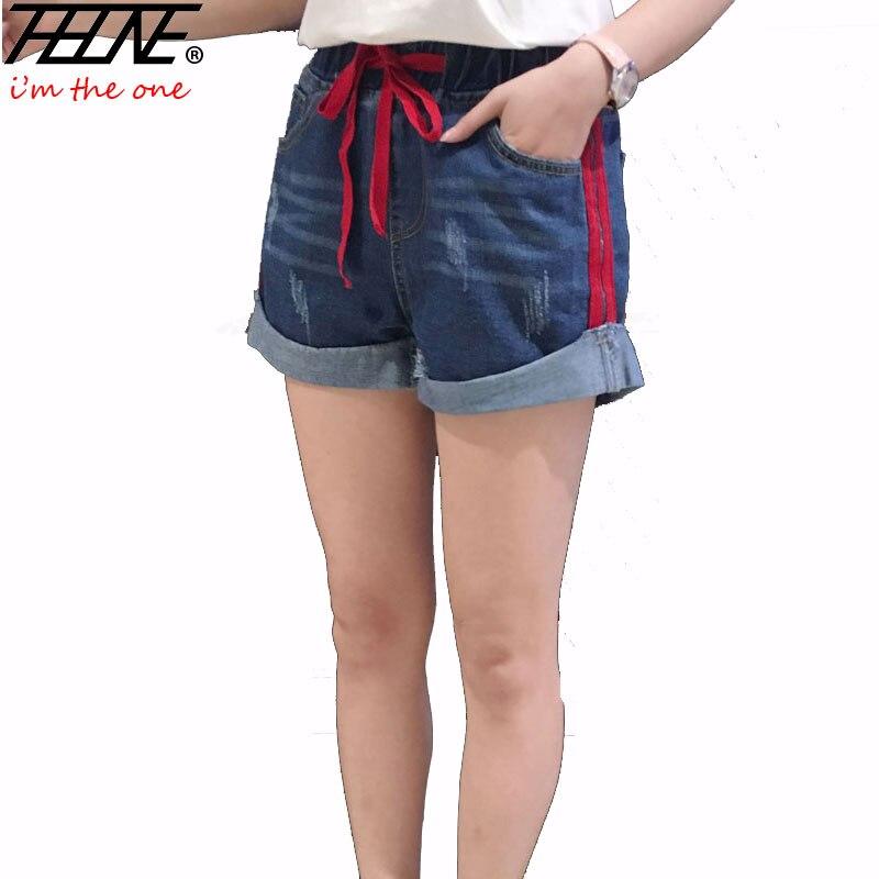 THHONE letní dámské šortky plus velikost 5XL ležérní elastický pas roztažený módní široká noha volná roztrhaná praná džínová kraťasy dámská