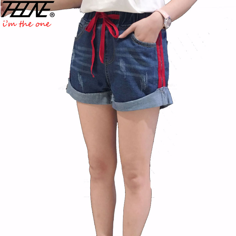 THHONE Summer Women Shorts Plus Size 5XL Casual Elastic Waist Stretch Fashion Wide Leg Loose Ripped Washed Denim Shorts Women
