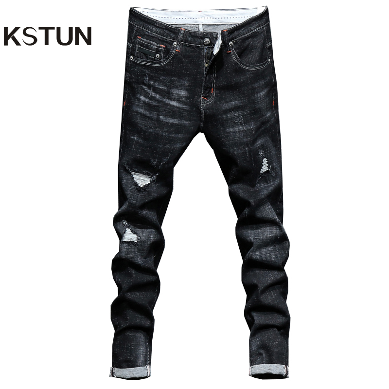 New Arrivals Men's Ripped Jeans Broken Man Autumn Winter Black High Elastic Slim Fit Hip Hop Tapered Casual Biker Jeans Joggers