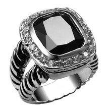 Venta caliente Negro Onyx 925 Alta Cantidad Anillo Para Los Hombres y Las Mujeres de Joyería de Moda Del Regalo Del Partido Tamaño 6 7 8 9 10 F1460