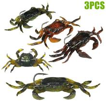 3Pcs 10cm 30g Soft Fishing Lures Artificial Bait Crab with Sharp Hooks Jigging Tackle Fake Fishbait BB55