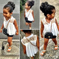 Hot Sell Baby Girls Kids White Sleeveless Lace Flower Chiffon Tops Shirt Blouse