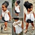 Venda quente Do Bebê Meninas Crianças Flor Branca Sem Mangas de Renda Chiffon Encabeça Camisa Blusa