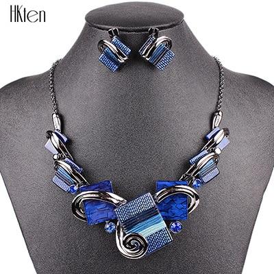 MS20676 модные ювелирные наборы, посеребренные фиолетовые/леопардовые/синие/серые цвета, уникальный дизайн, вечерние подарки, высокое качество - Окраска металла: Blue