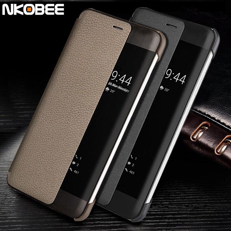 Für Huawei P10 Fall Leder Flip NKOBEE Ursprüngliches Fenster Fundas Für Huawei P10 Plus Fall Intelligente Abdeckung Für Huawei Taube 10 Pro fall
