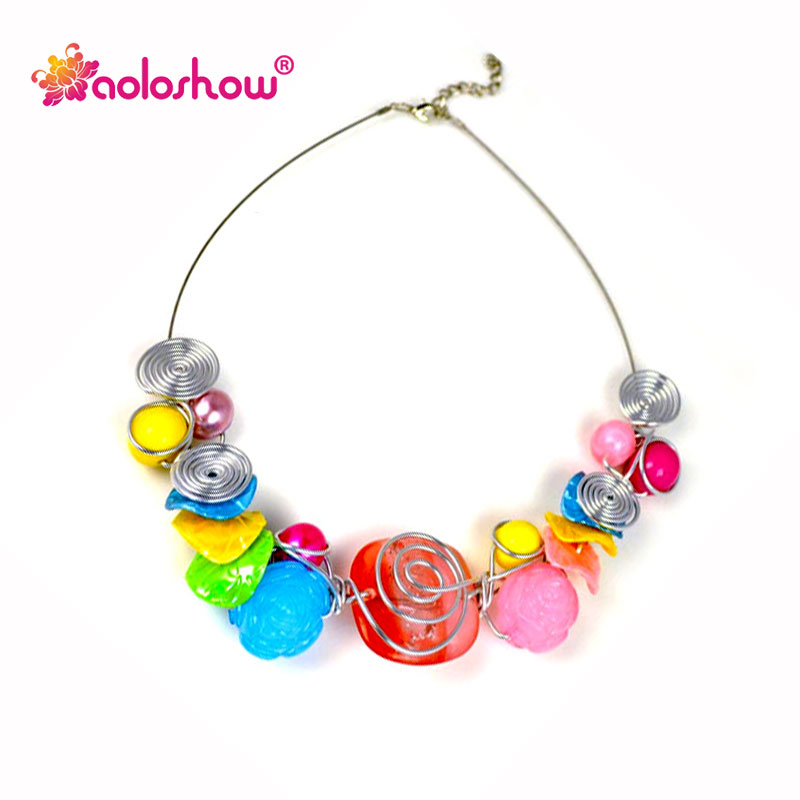 Fashion Bohemian handmade Beads stone jewelry collar choker ...