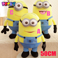 Becky 20inch/50cm Big Size Minions 3D Despicable Me Eyes Yellow Large Minion Doll Plush Stuffed Toys For Children Birthday Gift