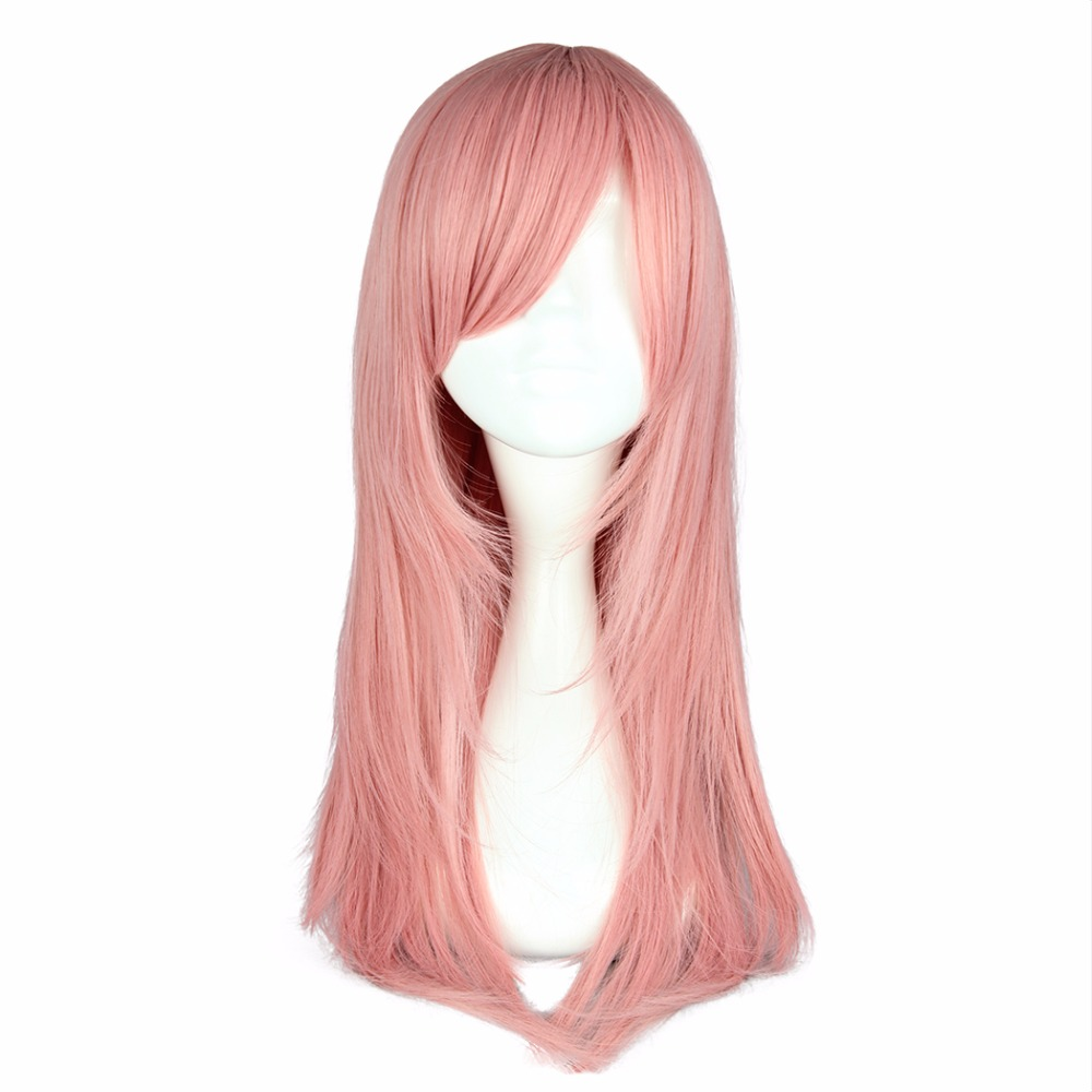 MCOSER Free Shipping 65cm Synthetic Medium Straight hair Pink Color 100% High Temperature Fiber Wig WIG-351A