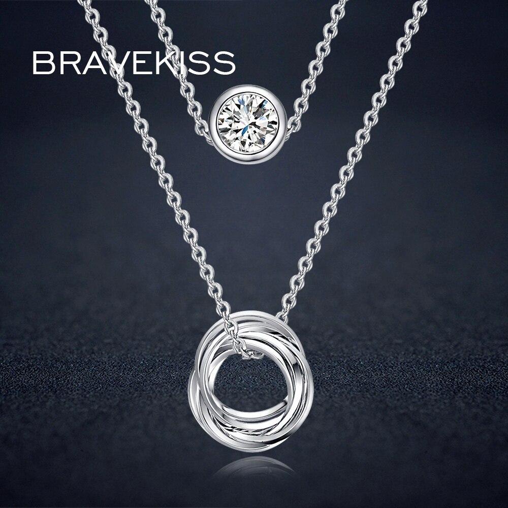 Bravekiss двойной слой цепи ожерелье Кристалл для женщин горный хрусталь Шарм Ожерелья Подвески Колье ошейник Mujer Jewelry bun0119b