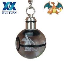 HUI YUAN 3D Keychain Pokeball LED Novelty Light Keyring Pokemon 3D Crystal Fairy Ball Keychain Decorations