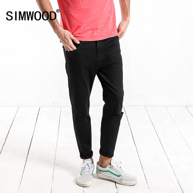 SIMWOOD 2018 Fashion Streetwear Men Jeans Destroyed Slim Fashion Hole Denim Ankle Trousers Plus Size Brand Clothing 180223