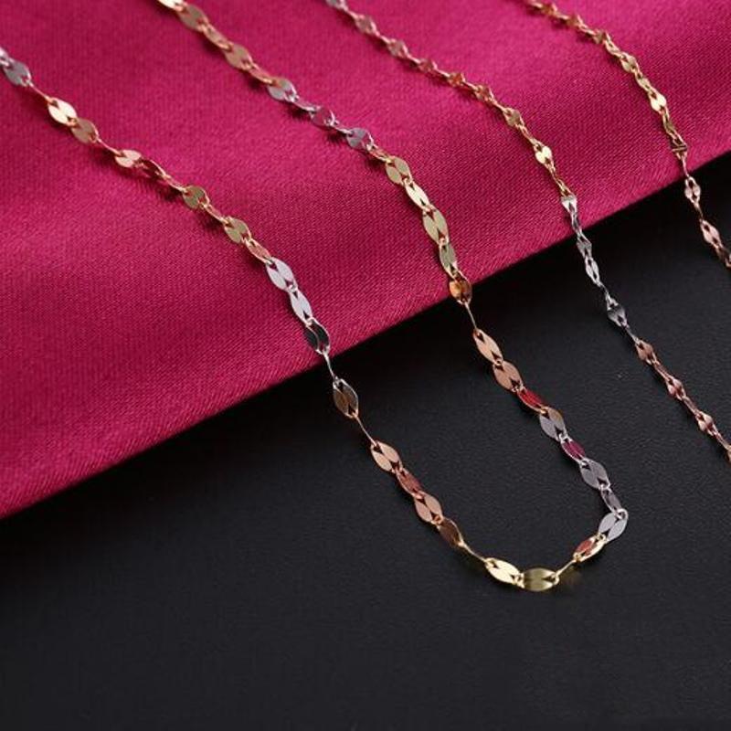 Fine Au750 Pure 18K Multi-Tone Gold Necklace Women Lip Link Chain 18inchFine Au750 Pure 18K Multi-Tone Gold Necklace Women Lip Link Chain 18inch