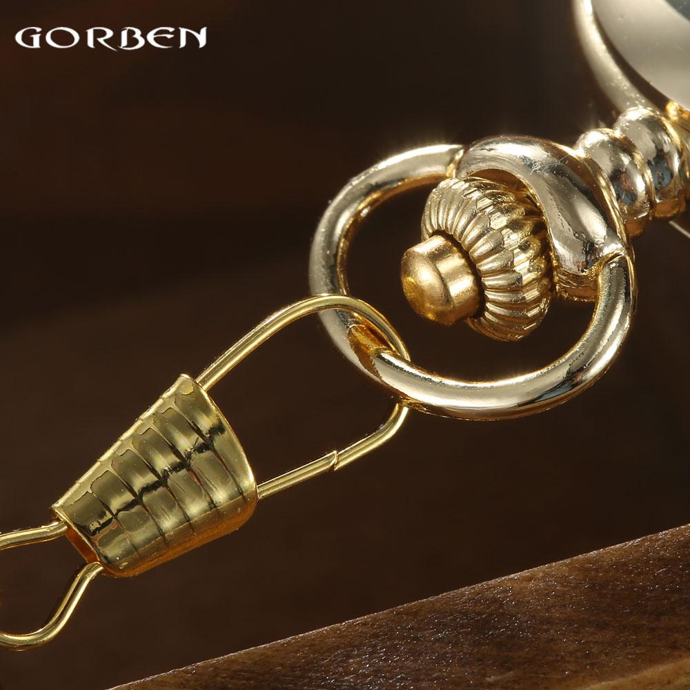 GORBEN Marca Clásico Reloj de Bolsillo de Cuarzo Para Hombres de Oro - Relojes de bolsillo - foto 5