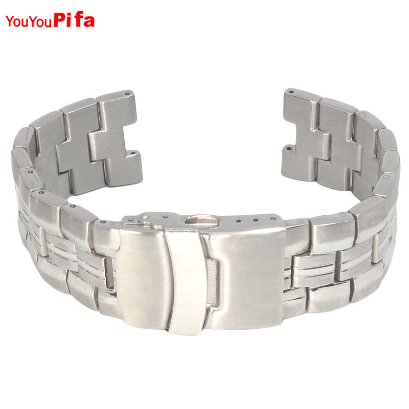 Luxury 7mm 10mm 11mm Connector Silver Stainless Steel Watch Strap Wrist Band Replacement Metal With Clasp Casual Men Watch Band