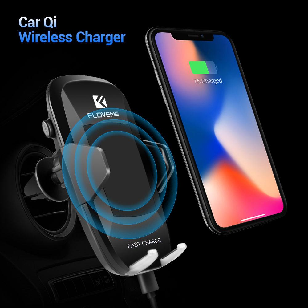 FLOVEME Car QI Wireless Charger For iPhone 8 8 Plus X 10 Air Vent Car Phone Holder Charger For Samsung Galaxy S8 S9 Plus S7 Edge