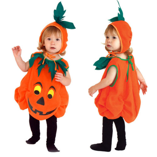 Cute Kids Boys Girls Pumpkin Halloween Fancy Party Dress Costume Sleeveless Orange Dresses Hat Cosplay Outfits Clothes Set 4pcs gothic halloween artificial devil vampire teeth cosplay prop for fancy ball party show