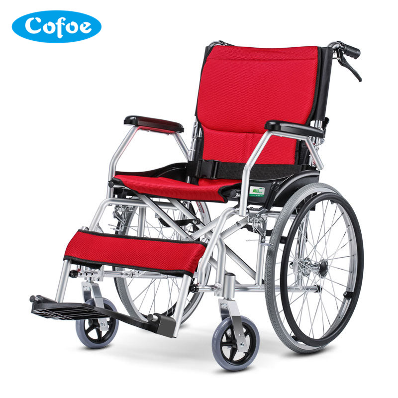 Portable Cofoe Medical Wheelchair Aluminium Alloy Folding Portability Travel Scooter for Old Man the Disabled Health Care