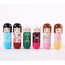 New fruit nature organic lip balm lipstick Cute Cartoon Lip balm kimono doll fruit lip balm nourishing moisturizing repair