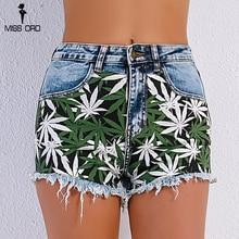 Missord  2018 Sexy Summer Women High Waist Elastic Galette Patchwork  Denim Decorative Pocket Short Pant  FT9039